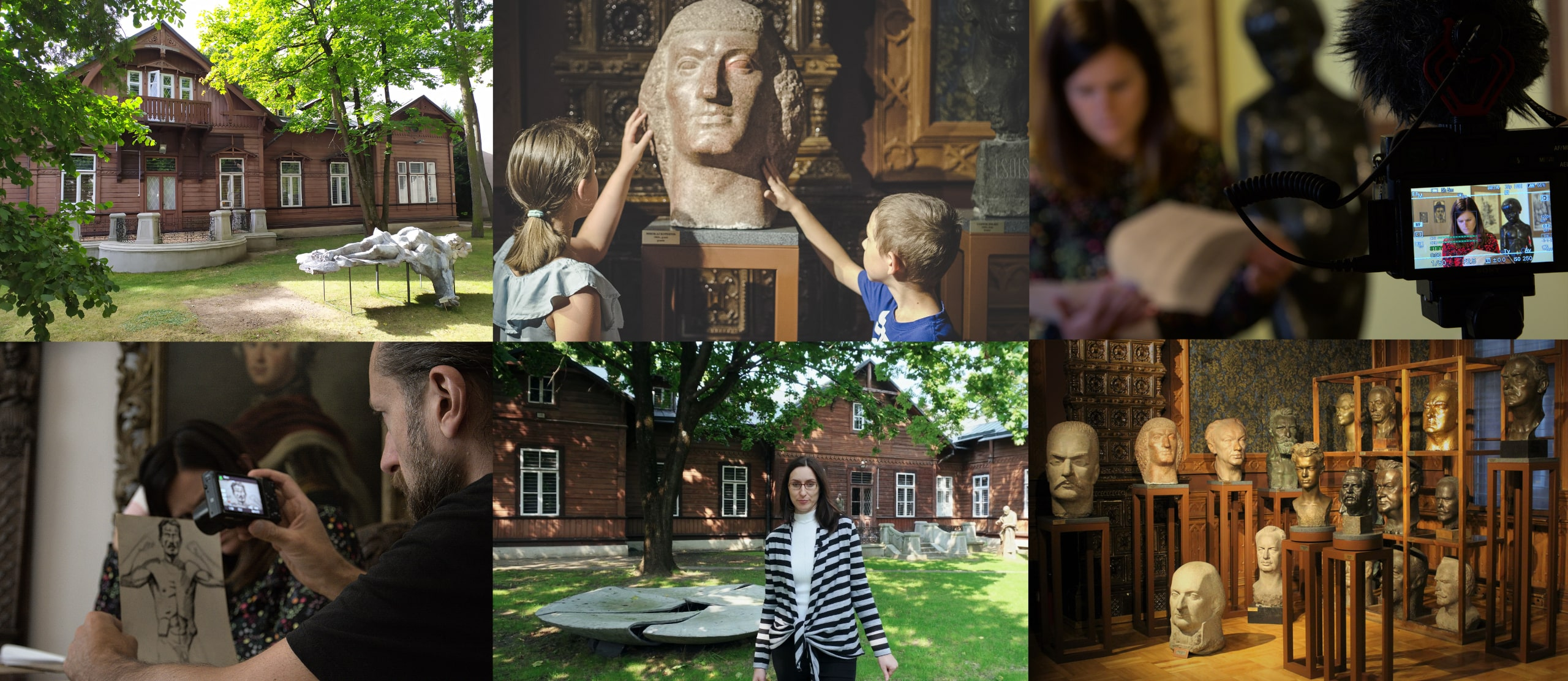 """The photo presents photos from the implementation of the project """"Art without border – stage II"""". You can see here, among other things: photos from records of the educational movies, the façade of the Alfons Karny Sculpture Museum, as well as the permanent exhibition of the museum."""