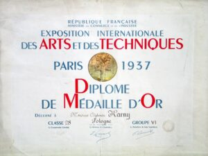 Diploma of the first prize at the International Exposition of Art and Technology in Paris, 1937, pap