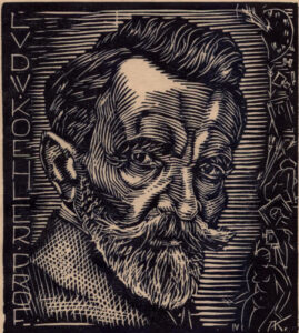 Ludwik Koehler – a Print with the Artist's Image, A. Karny, 1926, ink/paper