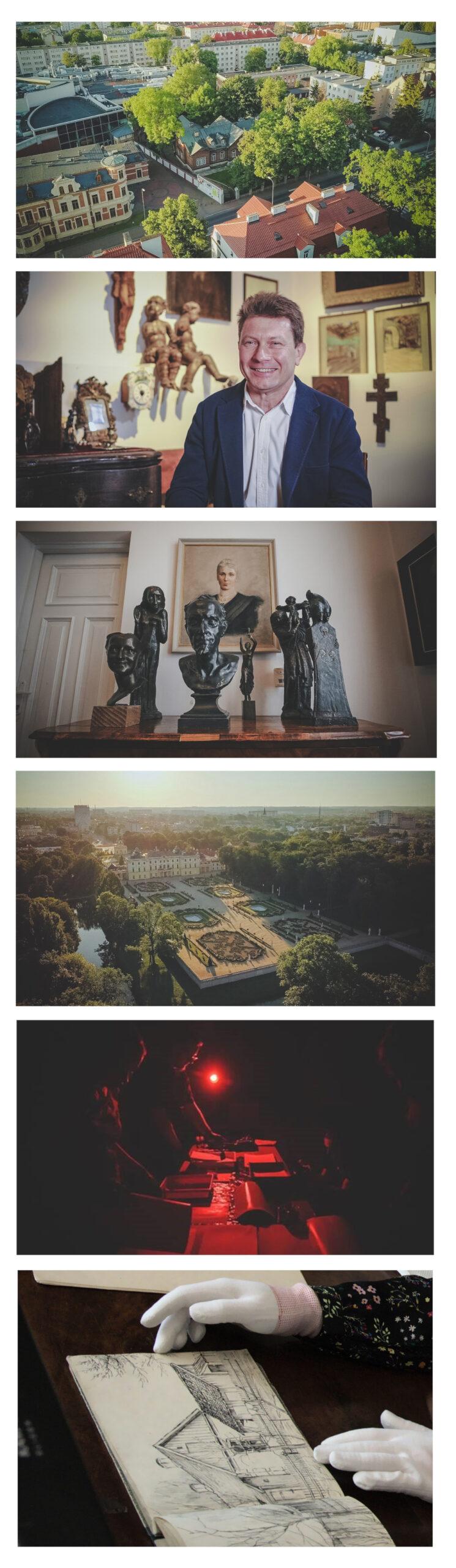 График состоит из четырех фотографий. На первом фото штаб-квартира Музея скульптур  с высоты птичьего полета. На втором фото улыбающийся мужчина. Третье фото скульптуры из коллекции Альфонса Карного. На четвертом вид Дворец Браницких.